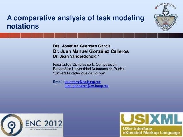 A comparative analysis of task modeling notations Dra. Josefina Guerrero García Dr. Juan Manuel González Calleros Dr. Jean...