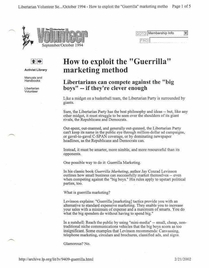 "Libertarian Volunteer Se .../October 1994 - How to exploit the ""Guerrilla"" marketing metho                                ..."