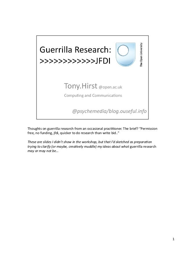 """Thoughts  on  guerrilla  research  from  an  occasional  prac33oner.  The  brief?  """"Permission   fre..."""