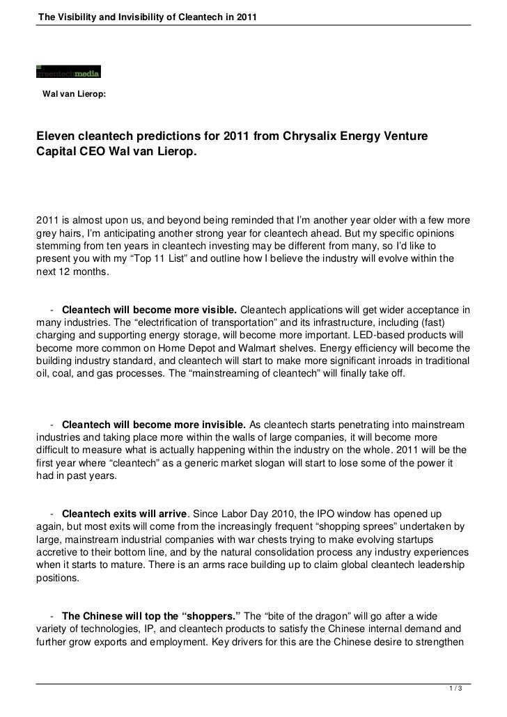 The Visibility and Invisibility of Cleantech in 2011