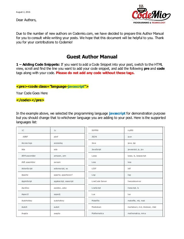 Guest author manual