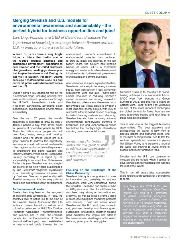GUEST COLUMN  Merging Swedish and U.S. models for environmental awareness and sustainability - the perfect hybrid for busi...