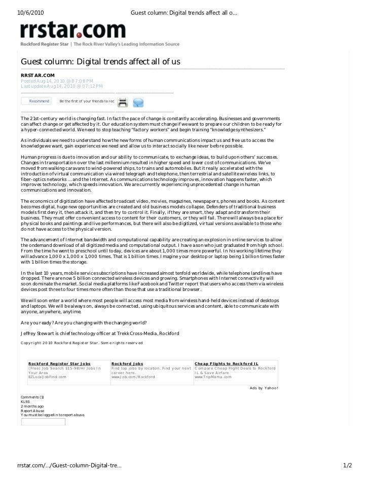 10/6/2010                                                                 Guest column: Digital trends affect all o… Guest...