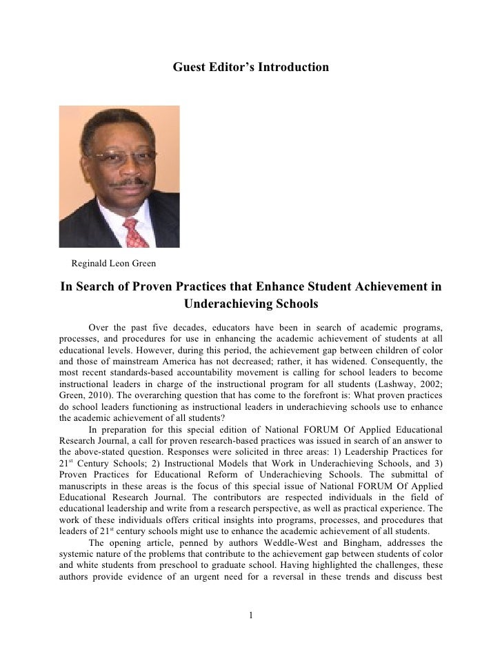 Guest Editor's Introduction   Reginald Leon GreenIn Search of Proven Practices that Enhance Student Achievement in        ...