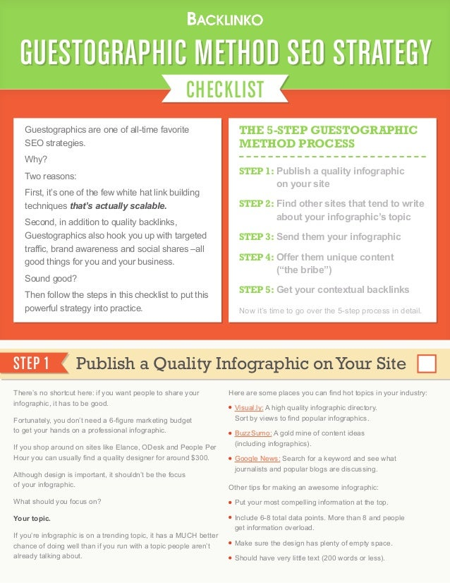 CHECKLIST GUESTOGRAPHIC METHOD SEO STRATEGY Guestographics are one of all-time favorite SEO strategies. Why? Two reasons: ...