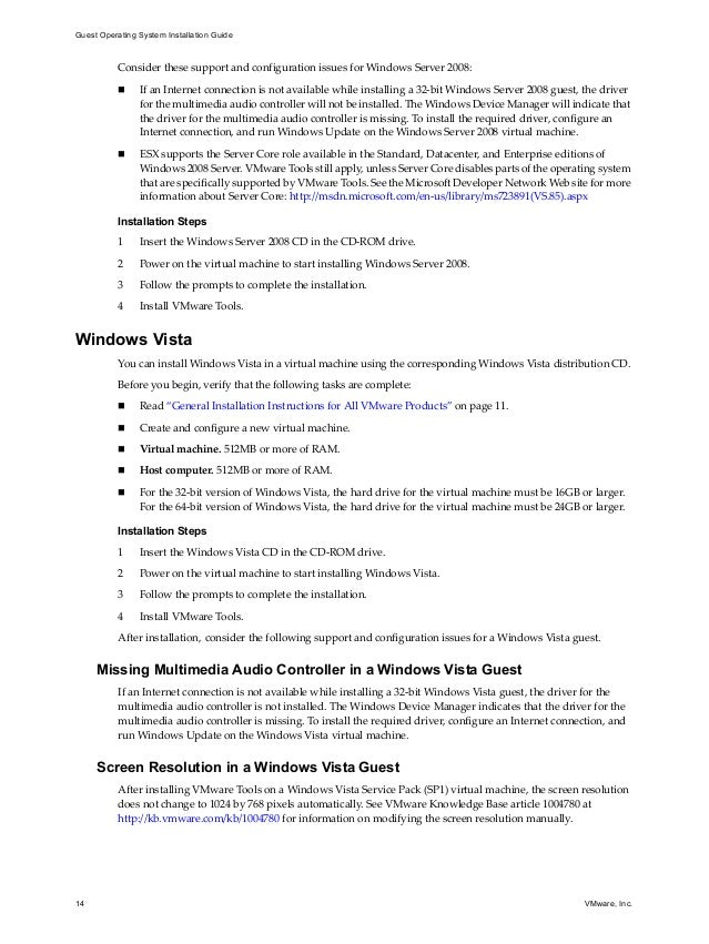 vmware Guest os guide