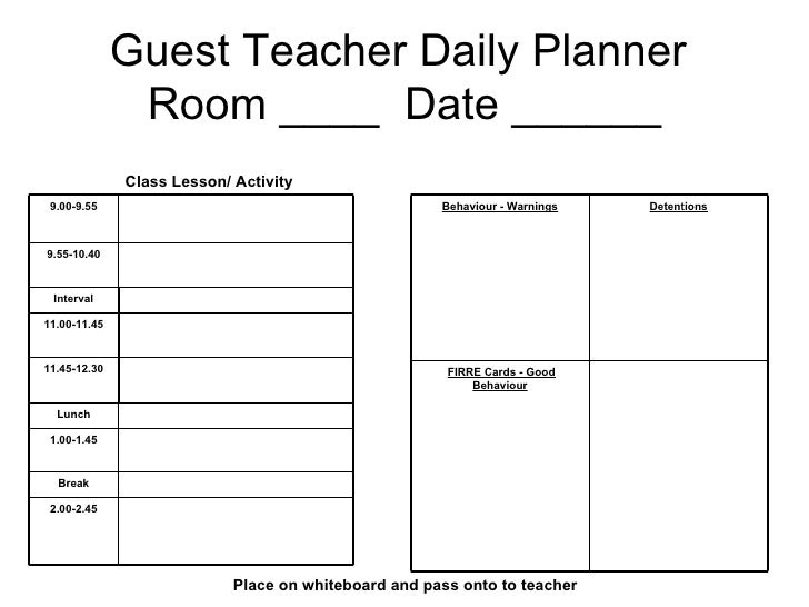 teacher daily planner