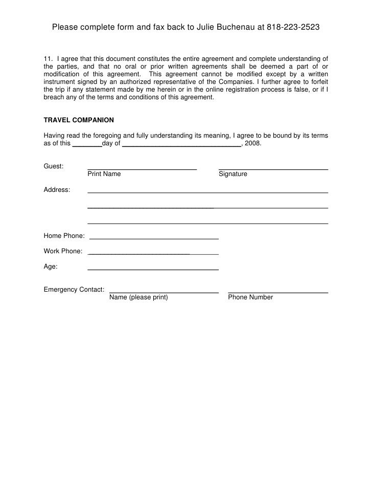 Guest travel liability release for Property damage waiver template