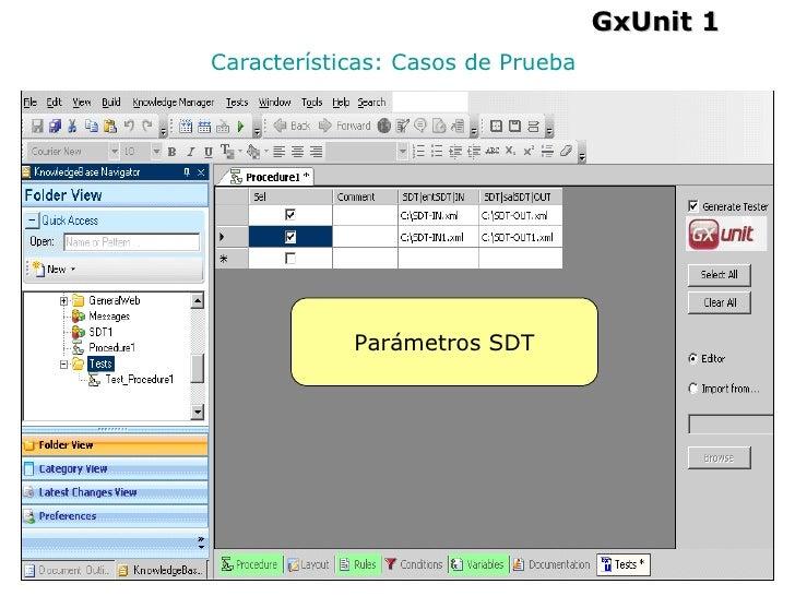 Características: Casos de Prueba GxUnit 1 Parámetros SDT