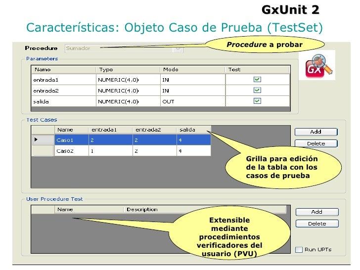 GxUnit 2 Características: Objeto Caso de Prueba (TestSet) Extensible mediante procedimientos verificadores del usuario (PV...