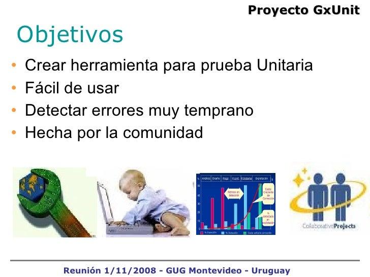 <ul><li>Crear herramienta para prueba Unitaria  </li></ul><ul><li>Fácil de usar  </li></ul><ul><li>Detectar errores muy te...