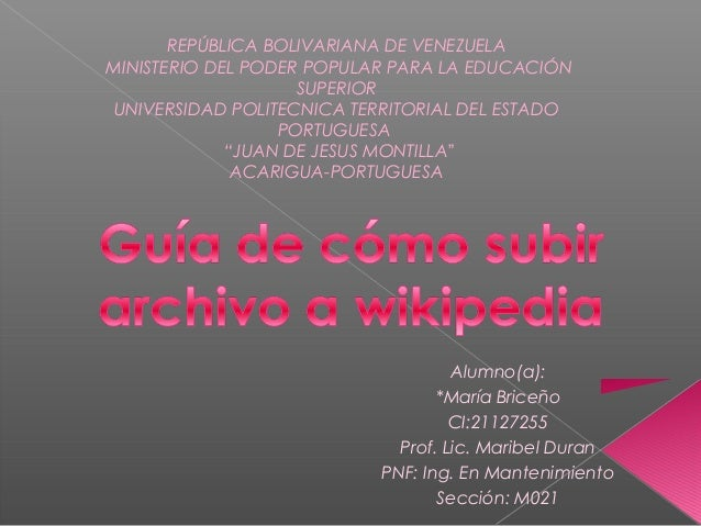 REPÚBLICA BOLIVARIANA DE VENEZUELAMINISTERIO DEL PODER POPULAR PARA LA EDUCACIÓN                    SUPERIOR UNIVERSIDAD P...