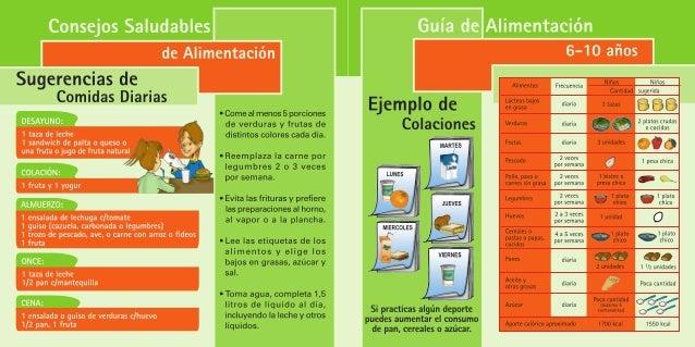 Guía alimentación para niños de 6 a 10 años.