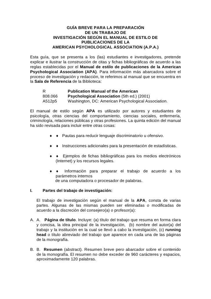 GUÍA BREVE PARA LA PREPARACIÓN                           DE UN TRABAJO DE              INVESTIGACIÓN SEGÚN EL MANUAL DE ES...