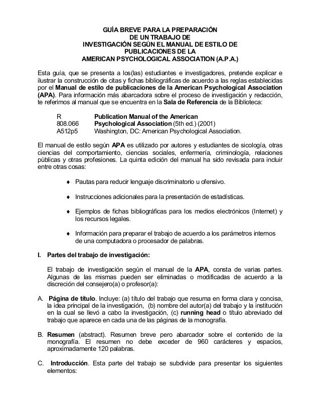 GUÍA BREVE PARA LA PREPARACIÓN  DE UN TRABAJO DE  INVESTIGACIÓN SEGÚN EL MANUAL DE ESTILO DE  PUBLICACIONES DE LA  AMERICA...