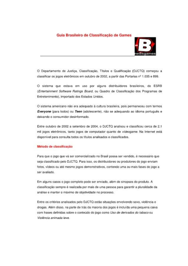 Guia Brasileiro de Classificação do Games     O Deparrarrento da Justiça.  Cass tração.  Títulos e Coal ! cação (DJCTOÇI c...