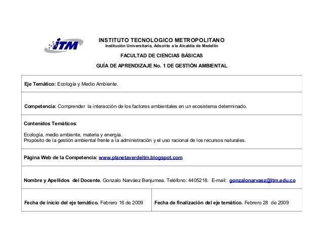 INSTITUTO TECNOLOGICO METROPOLITANO Institución Universitaria, Adscrito a la Alcaldía de Medellín FACULTAD DE CIENCIAS BÁS...