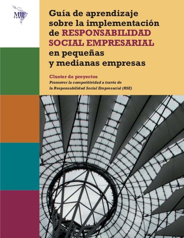 Maqueta Ecología  30/10/09  12:09  Página 1  Guía de aprendizaje sobre la implementación de RESPONSABILIDAD SOCIAL EMPRESA...