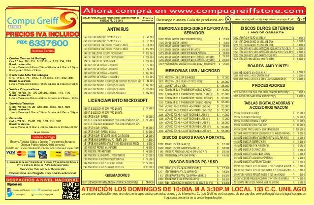 Ahora compra en www.compugreiffstore.com Efectivo, Tarjetas Débito y Crédito, Transferencia Bancaria, Cheques Posfechados,...