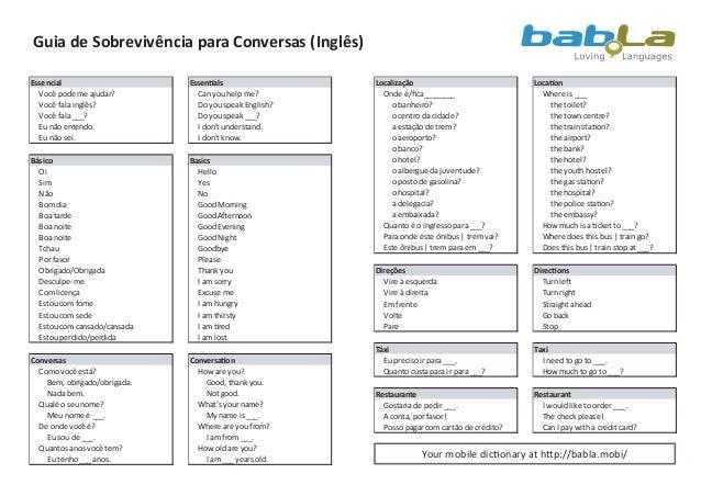 Guia de Sobrevivência para Conversas (Inglês)Essencial                     Essentials                Localização          ...