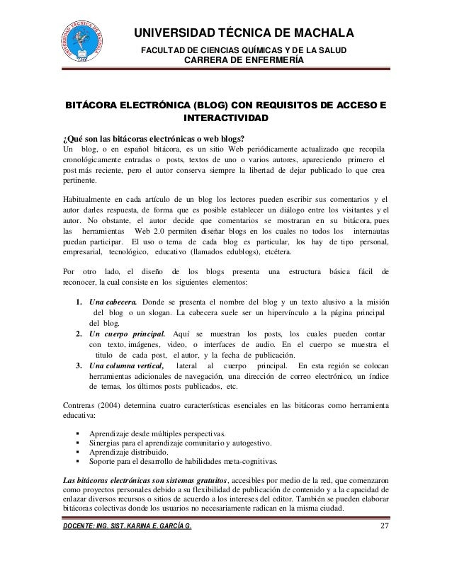 UNIVERSIDAD TÉCNICA DE MACHALA FACULTAD DE CIENCIAS QUÍMICAS Y DE LA SALUD CARRERA DE ENFERMERÍA DOCENTE: ING. SIST. KARIN...