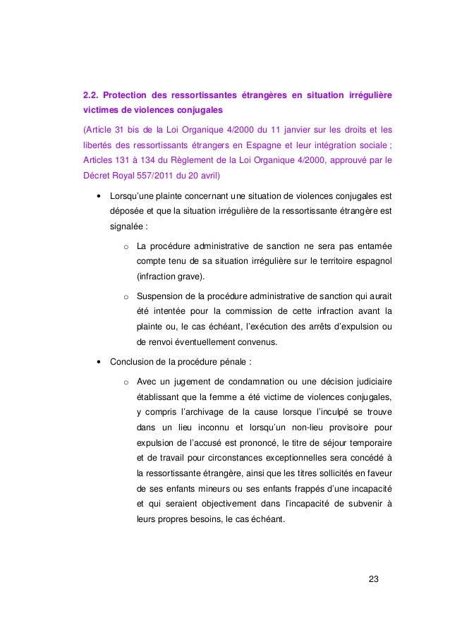 2.2. Protection des ressortissantes étrangères en situation irrégulièrevictimes de violences conjugales(Article 31 bis de ...