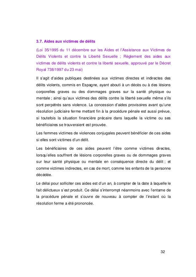 3.7. Aides aux victimes de délits(Loi 35/1995 du 11 décembre sur les Aides et l'Assistance aux Victimes deDélits Violents ...