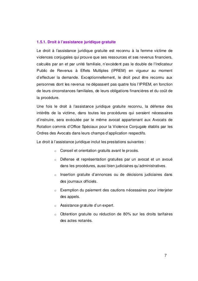 1.5.1. Droit à l'assistance juridique gratuiteLe droit à l'assistance juridique gratuite est reconnu à la femme victime de...