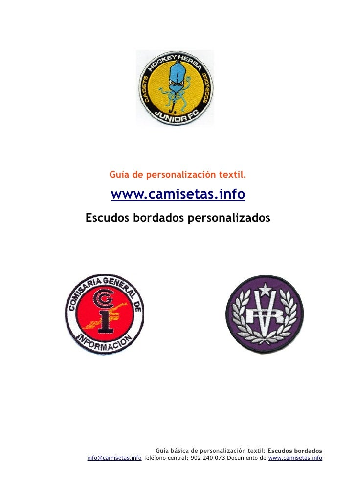 Guía de personalización textil.          www.camisetas.info Escudos bordados personalizados                              G...