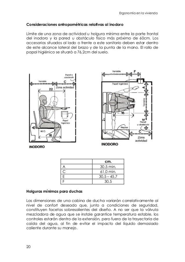 Guia general ergonomia en la vivienda for Dimensiones cabina inodoro
