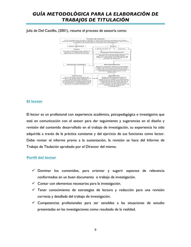 GUÍA METODOLÓGICA PARA LA ELABORACIÓN DE TRABAJOS DE TITULACIÓN          9   Julia de Del Castillo, (2001), resume...