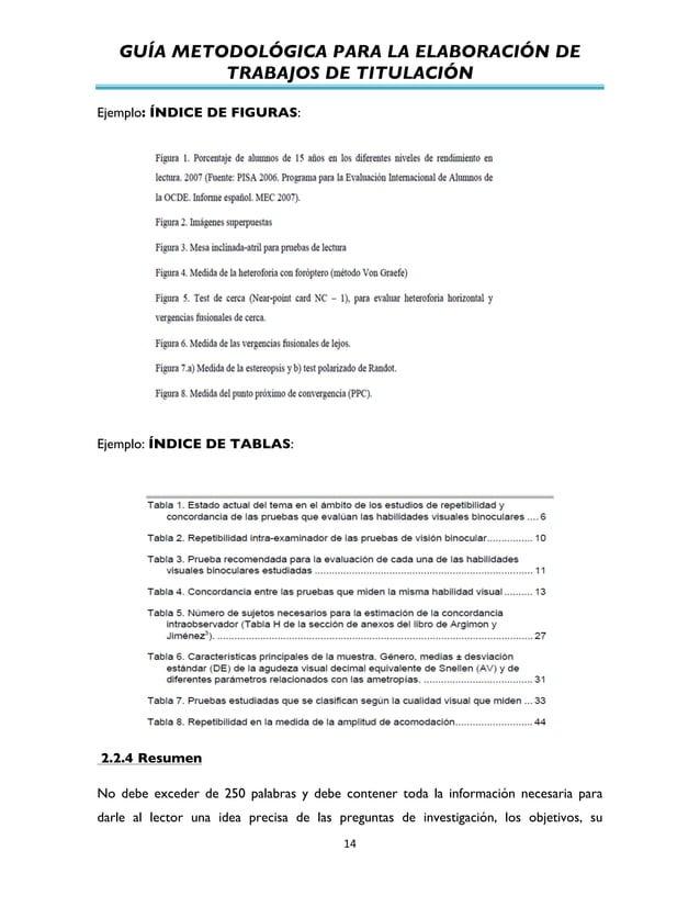 GUÍA METODOLÓGICA PARA LA ELABORACIÓN DE TRABAJOS DE TITULACIÓN          14   Ejemplo: ÍNDICE DE FIGURAS: Ejemplo:...