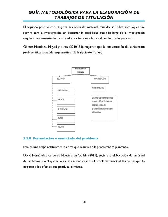 GUÍA METODOLÓGICA PARA LA ELABORACIÓN DE TRABAJOS DE TITULACIÓN          18   El segundo paso lo constituye la sel...