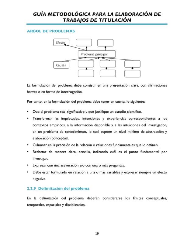 GUÍA METODOLÓGICA PARA LA ELABORACIÓN DE TRABAJOS DE TITULACIÓN          19   ARBOL DE PROBLEMAS La formulación de...