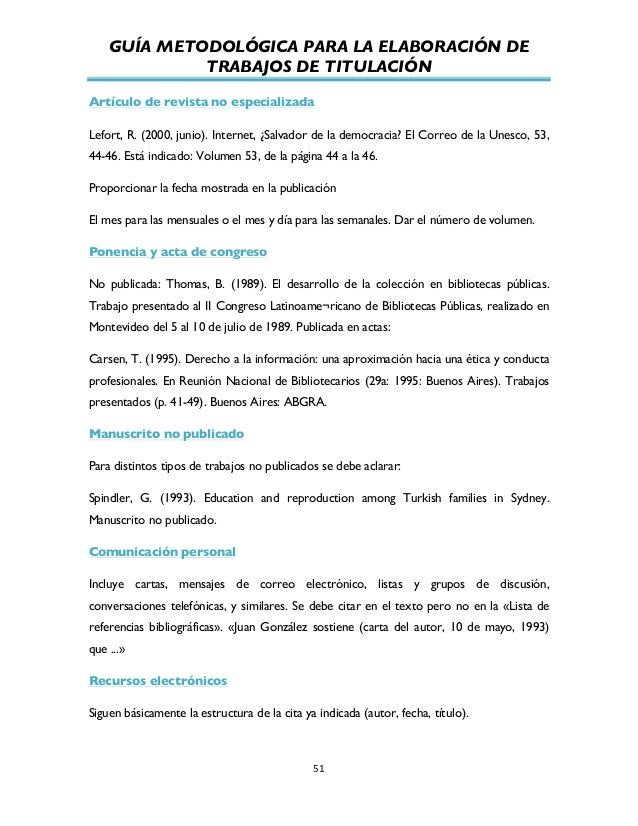 GUÍA METODOLÓGICA PARA LA ELABORACIÓN DE TRABAJOS DE TITULACIÓN          51   Artículo de revista no especializada...