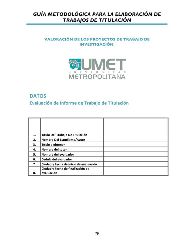 GUÍA METODOLÓGICA PARA LA ELABORACIÓN DE TRABAJOS DE TITULACIÓN          79   VALORACIÓN DE LOS PROYECTOS DE TRABA...