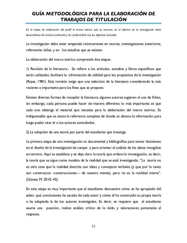 GUÍA METODOLÓGICA PARA LA ELABORACIÓN DE TRABAJOS DE TITULACIÓN          22   En la etapa de elaboración del perfi...