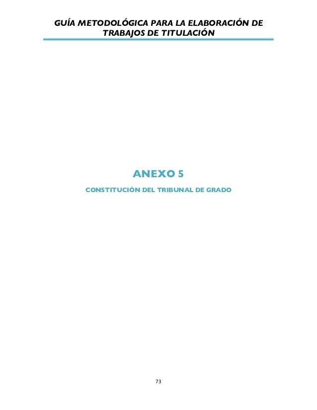 GUÍA METODOLÓGICA PARA LA ELABORACIÓN DE TRABAJOS DE TITULACIÓN          73   ANEXO 5 CONSTITUCIÓN DEL TRIBUNAL DE...