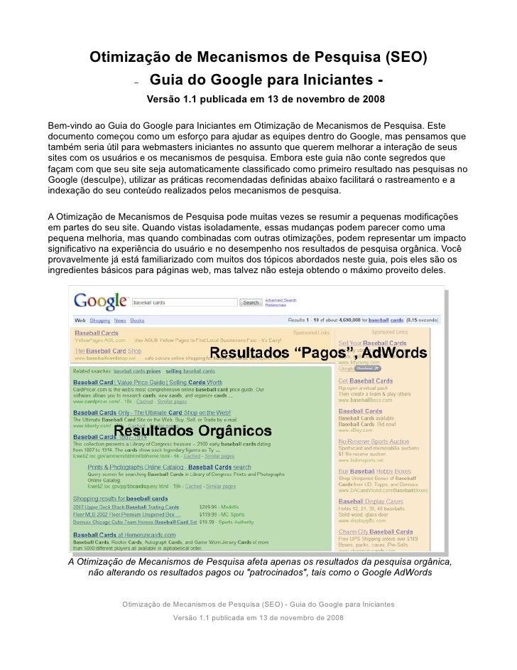Otimização de Mecanismos de Pesquisa (SEO)                – Guia do Google para Iniciantes -                         Versã...