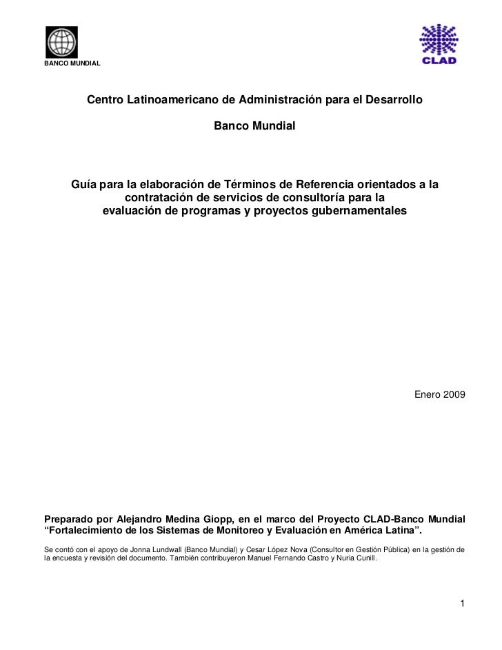 BANCO MUNDIAL            Centro Latinoamericano de Administración para el Desarrollo                                      ...