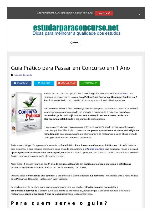 6 FERRAMENTAS PARA MAXIMIZAR OS SEUS ESTUDOS  MENU  FACEBOOK  TWITTER  GOOGLE PLUS  WHATSAPP Guia Prático para Passar...