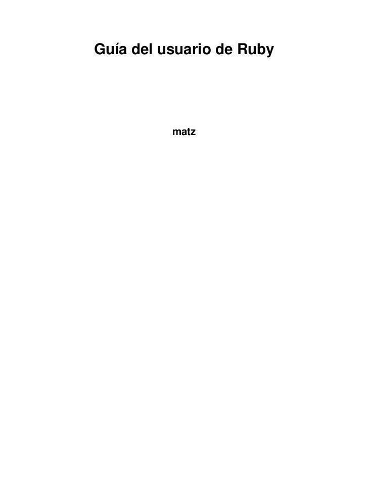 Guía del usuario de Ruby          matz