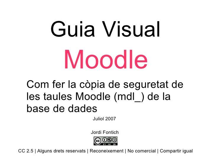 Guia Visual Moodle Com fer la còpia de seguretat de les taules Moodle (mdl_) de la base de dades  Jordi Fontich CC 2.5 | A...