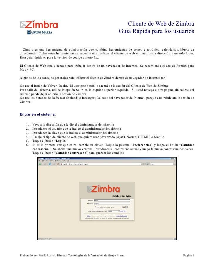 Cliente de Web de Zimbra                                                                          Guía Rápida para los usu...