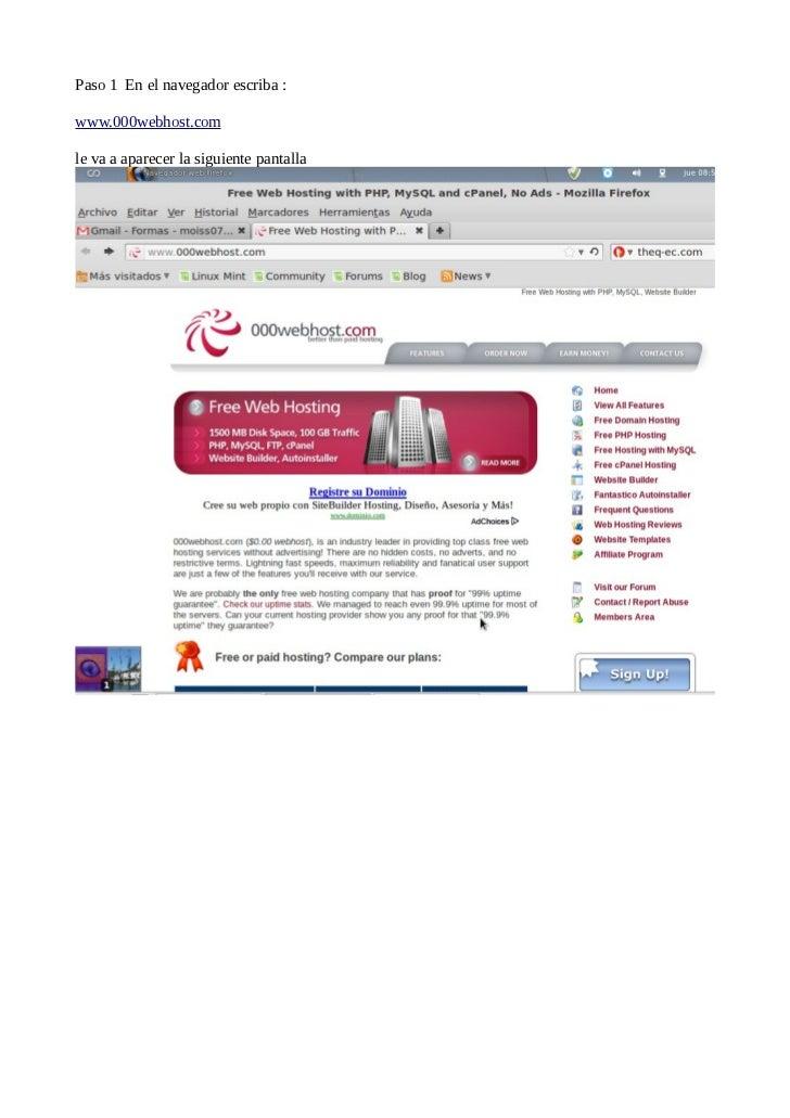 Paso 1 En el navegador escriba :www.000webhost.comle va a aparecer la siguiente pantalla