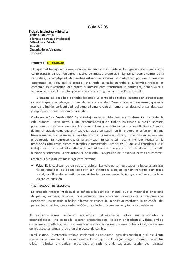 Guía Nº 05 Trabajo Intelectual y Estudio: Trabajo Intelectual. Técnicas de trabajo intelectual Métodos de Estudio. Estudio...