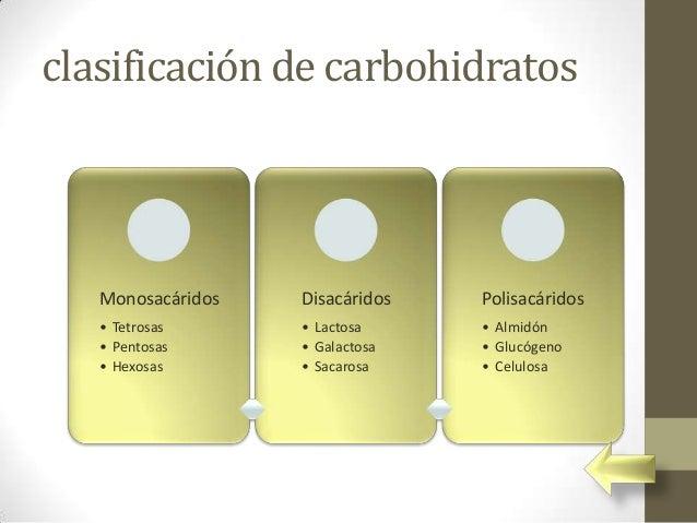 clasificación de carbohidratos   Monosacáridos   Disacáridos   Polisacáridos   • Tetrosas      • Lactosa     • Almidón   •...