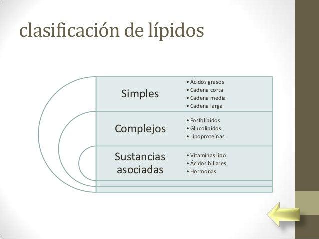 clasificación de lípidos                         • Ácidos grasos                         • Cadena corta             Simple...