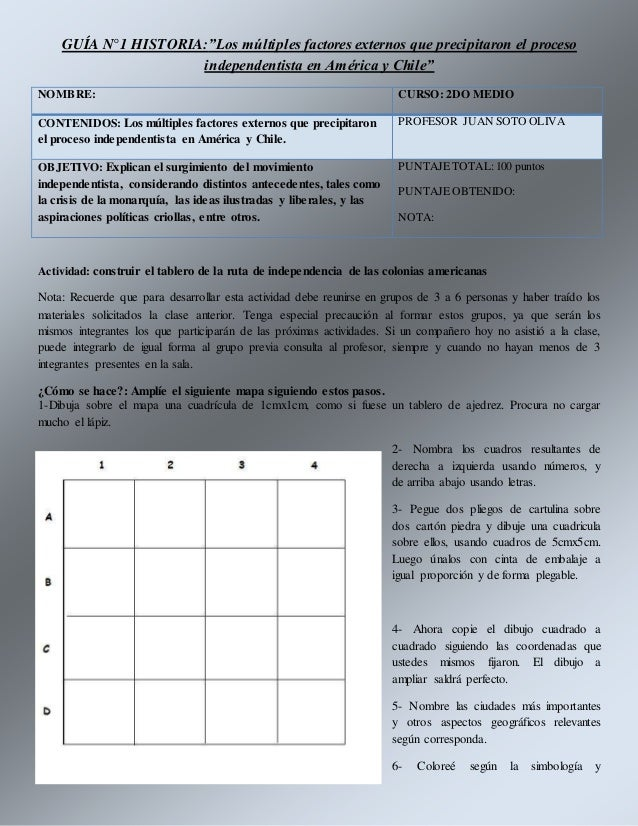 """GUÍA N°1 HISTORIA:""""Los múltiples factores externos que precipitaron el proceso independentista en América y Chile"""" NOMBRE:..."""