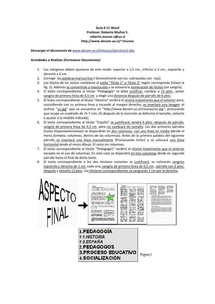 Guía#11Word                                          Profesor:RobertoMuñozS.                                      ...
